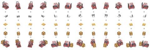 Doze empilhadeiras com as caixas em isométrico ilustração royalty free