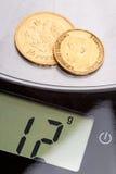 Doze gramas do ouro puro Fotografia de Stock