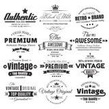 Doze insígnias ou etiquetas do vintage ilustração stock