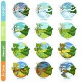 Doze meses do grupo do ano, inverno da paisagem da natureza de quatro estações, mola, verão, ilustrações do vetor do outono ilustração stock