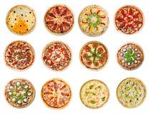 Doze pizzas diferentes fotos de stock royalty free