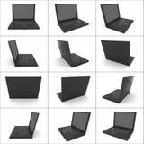 Doze vistas de um caderno preto isolado Imagens de Stock