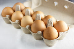 A dozen brown eggs Stock Photography