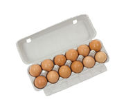 Dozen brown shelled eggs Royalty Free Stock Image