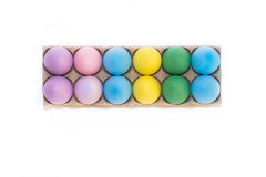 A Dozen Colored Easter Eggs Stock Photography