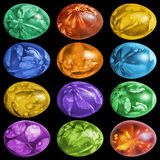 Dozen Colorful Easter Eggs Hand Painted And Decorated With Weed Leaves Imprints Isolated On Black Background. Dozen colorful Easter Eggs, hand painted and Royalty Free Stock Photography
