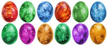 Dozen Colorful Easter Eggs Hand Painted And Decorated With Weed Leaves Imprints Isolated On White Background. Dozen colorful Easter Eggs, hand painted and Royalty Free Stock Photo