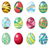 A dozen of colorful easter eggs Stock Images