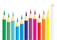 Dozen of coloured pencils Stock Images