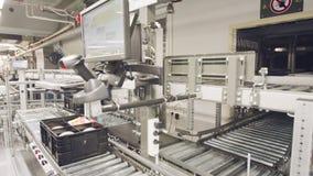 Dozen die zich op transportbanden in een groot geautomatiseerd pakhuis bewegen stock video