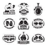 In dozen doende club, of mma het vechten etiketten Zwart-wit vectorillustraties Stock Fotografie