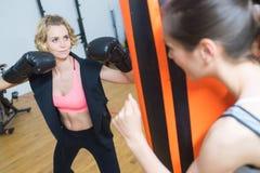 In dozen doende vrouwelijke trainer die in dozen doende student controleren Royalty-vrije Stock Afbeelding