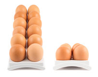 Dozen of eggs in a case isolated Stock Image