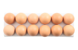 Dozen of eggs in a case isolated Royalty Free Stock Photos