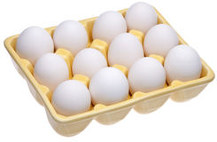 Dozen Eggs in Yellow Open Carton Royalty Free Stock Image