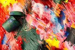 Dozen en olieverven multicolored close-up abstracte achtergrond Fr Royalty-vrije Stock Afbeeldingen