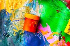 Dozen en olieverven multicolored close-up abstracte achtergrond Fr Royalty-vrije Stock Foto's