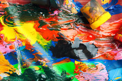 Dozen en olieverven multicolored close-up abstracte achtergrond Fr Stock Foto