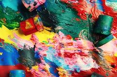 Dozen en olieverven multicolored close-up abstracte achtergrond Fr Stock Foto's