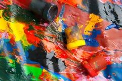 Dozen en olieverven multicolored close-up abstracte achtergrond Fr Royalty-vrije Stock Fotografie