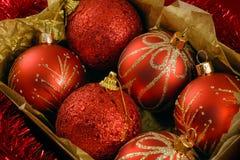 In dozen gedane Kerstmisballen Stock Afbeelding