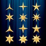 Dozen golden stars Royalty Free Stock Photography