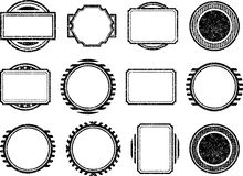 Dozen of grunge style shabby black templates for rubber stamps.  Stock Photos