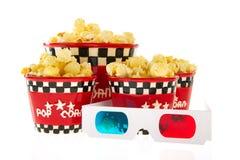 Dozen met popcorn en 3D glazen Royalty-vrije Stock Foto