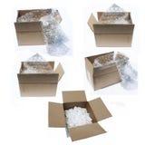 Dozen met verpakkingsmateriaal Stock Foto's