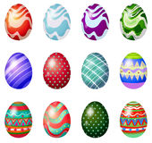 A dozen of painted easter eggs Stock Image