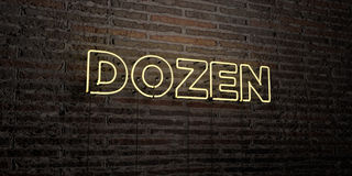 DOZEN -Realistic Neon Sign on Brick Wall background - 3D rendered royalty free stock image Stock Photo