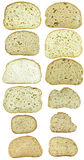 Dozen slices of bread isolated on white Stock Images