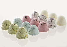 Dozen of small bath balls in order Stock Photography