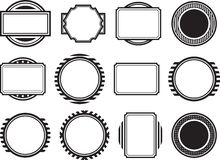 Dozen of solid black templates for rubber stamps Stock Photos