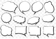 Dozen of talking bubbles with halftone drop shadow and white fil Royalty Free Stock Image
