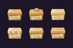 Dozen van het beeldverhaal de verschillende karton, vectoren die, voorwerpen inpakken royalty-vrije illustratie