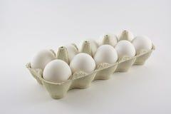 Dozen white chicken eggs in a box Stock Images