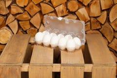 Dozen of white eggs Royalty Free Stock Photo