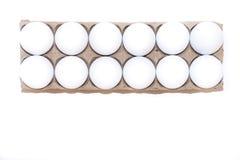 A Dozen White Hen`s Eggs Stock Photography