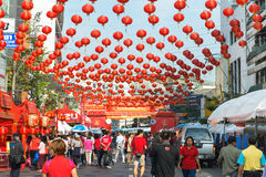 Dozens of Chinese Paper Lanterns Suspended over a Street in Chin stock photo