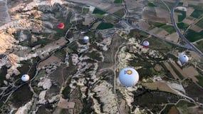 Many Hot Air Balloons Flying Over Cappadocia royalty free stock photo