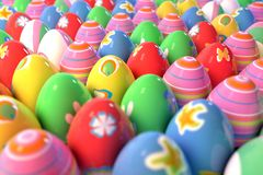 Dozens of easter eggs. Large amount of Easter eggs decorated with different paintings Royalty Free Stock Images