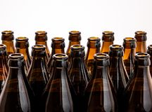 Dozens of empty, brown German beer bottles Stock Photography