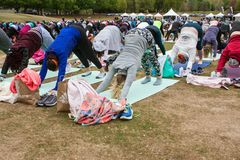 Dozens Of People Do Downward Facing Dog Yoga Pose Outdoors. Atlanta, GA, USA - April 8, 2018:  Dozens of people do the downward facing dog pose in unison as they Stock Image