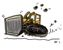 Dozer. Cartoon of a rumbling bulldozer. Colored pencil drawn on paper bag Royalty Free Stock Images