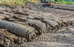 Dozer in action. Dozer action in Industrial Construction royalty free stock image