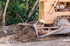 Dozer. Old dozer at a construction site, outdoor stock images