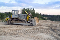 Dozer in the sand extraction place Royalty Free Stock Photo