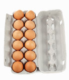 Dozijn bruine eieren royalty-vrije stock foto's