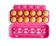 Dozijn eieren in roze doos royalty-vrije stock foto's